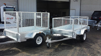 galvanised box trailer, inc 900mm Cage & Spare 7x4, Welded 2.5mm checker plate