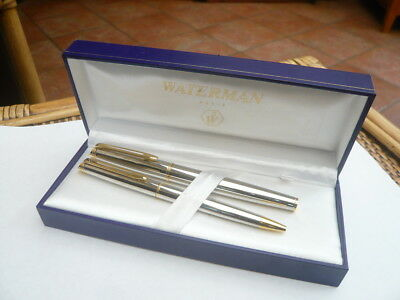 Vintage Nice Quality Waterman Paris France Silver & Gold Fountain Pen Set Boxed