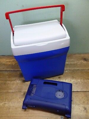 Gio Style Portable Electric Cool Box Fridge with Car Charger Untested Blue Grey