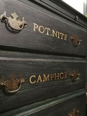 Hand painted Reproduction Chemists / Apothecary Drinks / HI-FI cabinet / Storage