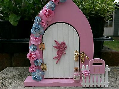 💗 Pink & White Glitter Fairy Door Set With Flowers 💗 Hand Crafted 💗
