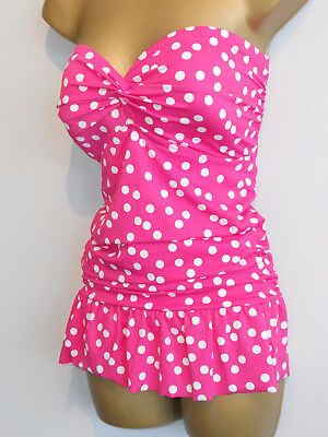 Pink George Ruched Strapless Polka Skirt Swimdress Swimsuit Size 16 Control
