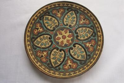 19th Century Victorian Wall Plate w. Colourful Geometric Design