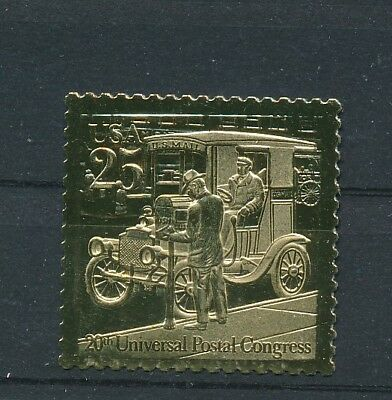 USA Gold Foil MNH Replica Stamp Classic Mail Transportation Automobile
