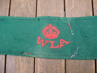 WW2 Home Front Women's Land Army Armband Wool W L A Authentic WW2 Kings Crown