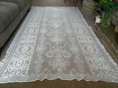 "VINTAGE LARGE PATTERNED LACE NET TABLECLOTH-MADE IN SCOTLAND- 96""x 51""6"""