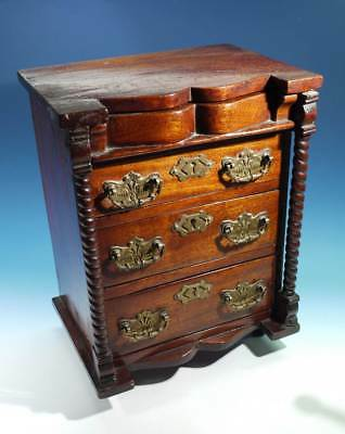 Antique Scottish Miniature Mahogany Chest of Drawers with Spiral Columns.