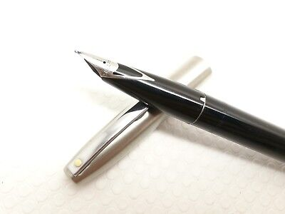 Sheaffer Imperial 444 white dots black brushed stainless steel Fountain Pen USA