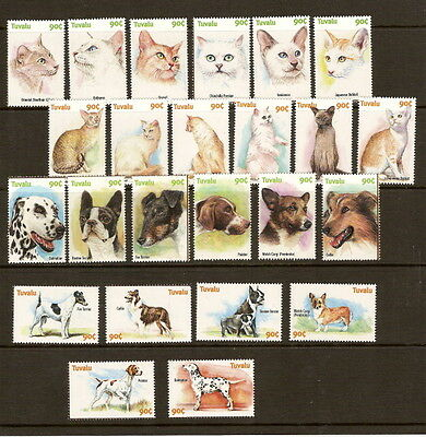 Tuvalu 2000 Cats & Dogs Unmounted MINT Set SG 952-975