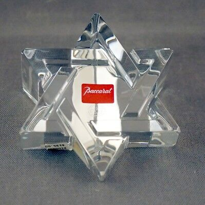"Baccarat Crystal Star Of David Paperweight #2100810 4-1/4"" Long"