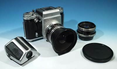 Vintage Medium Format SLR Pentacon Six TL Camera & 2 Carl Zeiss Lenses & Extras.