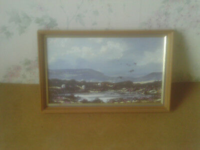 Vintage Framed C.1970s Impressionist Style Oil Painting of Sheep on the Moors