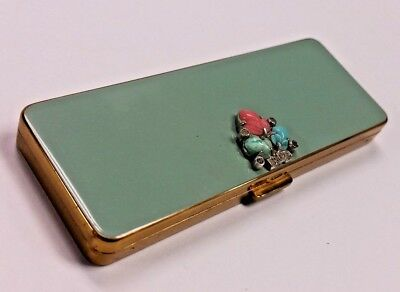 VINTAGE VOLUPTE ART DECO JEWELED COMPACT Powder Rouge Lipstick Comb Necessaire