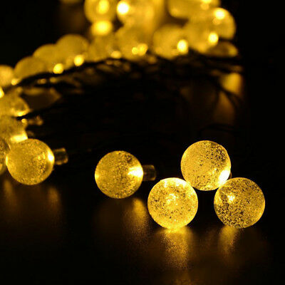 30LED Solar String Led Lights Crystal Globe Ball Bulbs Fairy  Garden Party Xmas