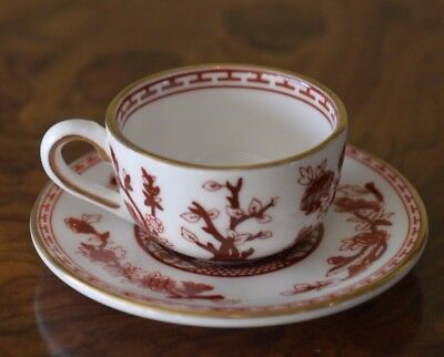 Coalport Indian Tree (rust) miniature set - mini cup, saucer and plate, boxed