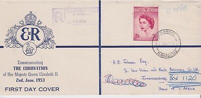 Southern Rhodesia-1953 Queen Elizabeth II 2/6d red Coronation First Day Cover