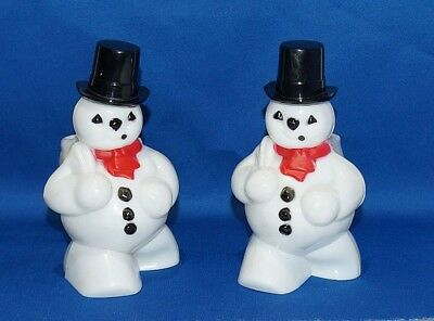 2 Vintage Rosbro Hard Plastic Snowmen Candy Containers