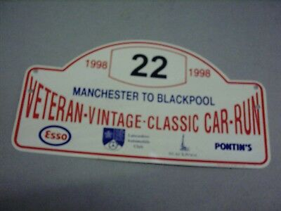 1998 Manchester To Blackpool Veteran Vintage Classic Car Run Rally Grille Plaque