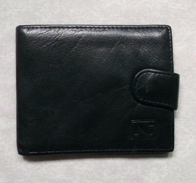 FINE LEATHER BLACK VINTAGE WALLET BI-FOLD CARDS NOTES 1980s 1990s BY NICHE