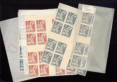 CZECHOSLOVAKIA,  307-309, MINT NH , Rare Gutter Pairs & Blocks of Stamps