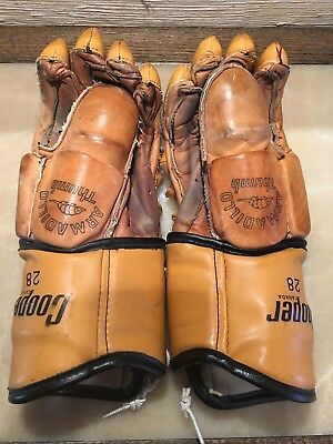 Vintage Cooper 28 Hockey Gloves with Armadillo Thumbs