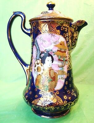 Exquisite SIGNED JAPANESE GEISHA DECORATED CHOCOLATE POT Coffee Pot? XLNT+