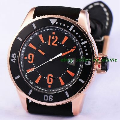 43mm Rose Gold PVD Case Sub Style Mens Watches Black Sterile Dial Orange Mark 02