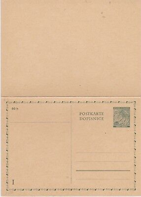 Bohemia and Moravia-1939 Unused 50 H green postal stationery postcard with reply