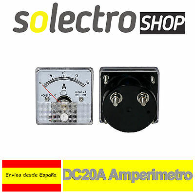 DC 20A Amperimetro Analógico Panel Medidor Amperaje 0 a 20A Shunt built-in H0044