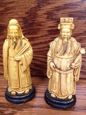 2 Chinese Japanese Men Officials Emperor Wise Men Ornament Statue Figures