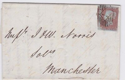 Great Britain-1847 QV 1d red imperf London Horizontal Oval 7 to Manchester