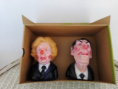 MARGARET THATCHER & RONALD REAGAN SPITTING IMAGE TOY HEADS 1980s