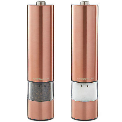 Andrew James Electronic Salt Pepper Mill Spice Shakers Grinder In Copper Finish