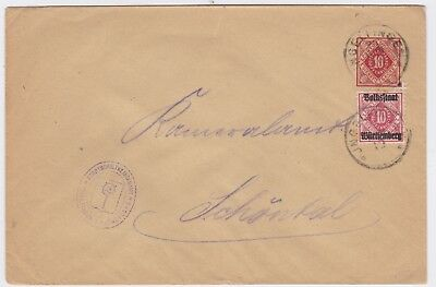Wurttemberg Republic-1919 Uprated official 10 Pf red PS letter Ingelfingen cover