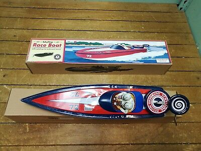 Race Boat Vintage Tin Toy By Schylling - 36cm