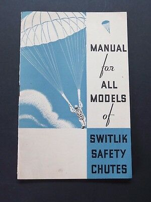 Original 1930's Switlik Safety Chute 24pg Parachute Brochure & Packing Manual