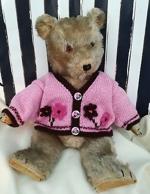 "*Bear Knits* Hand Knitted  pink jacket with knitted flowers fit 17"" - 19""  bear"