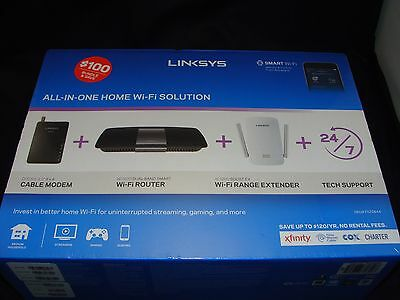 NEW! Linksys All-in-One  WiFi CM3008 Modem EA6400 Router RE6400 Range Extender