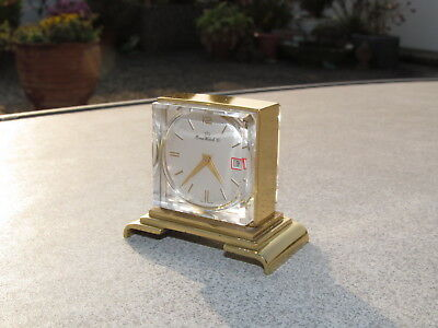 alte Uhr Miniatur Tischuhr 15076 Home Watch Co Swiss vintage miniature gold