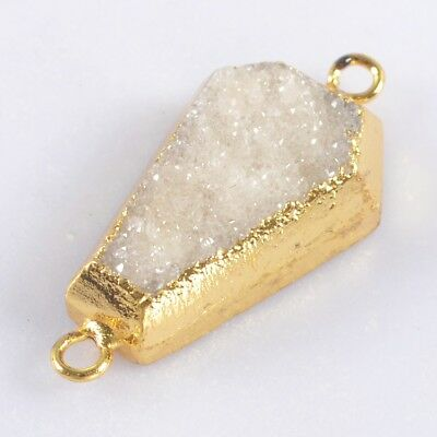 Natural Agate Druzy Geode Connector Gold Plated H103524