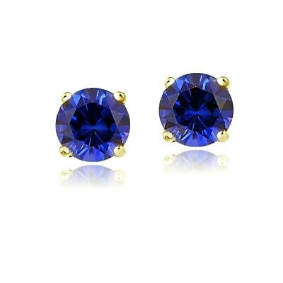 14K Yellow Gold 2.1ct TGW Created Blue Sapphire Stud Earrings