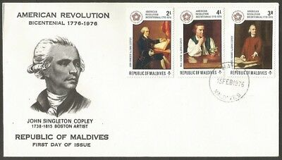 Republic Of Maldives Fdc 1976 American Revolution Bicentennial First Day Cover
