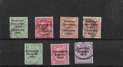 1922 kgv excellent group of seven irish overprints