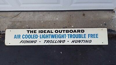 """Vtg The Ideal Outboard Michigan Boat Fishing Sales Wood Sign Marine Hunting 48"""""""