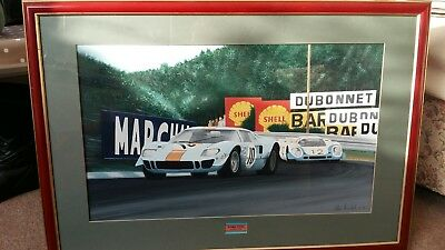 Ford GT40 Alan Fearnley framed signed print.