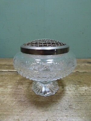 Vintage Crystal Glass Rose Bowl Vase