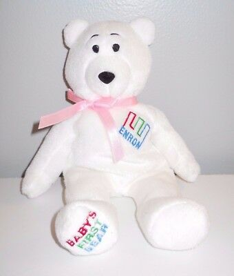 NEW White Enron Corp Logo Baby's First Bear Beanie Baby Girl Pink Bow VTG 90s