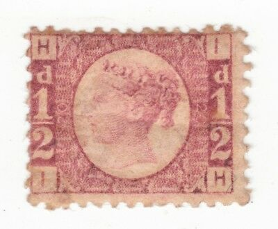 QV 1870  SG 48  1/2d  PLATE 20. FINE USED.  LETTERS  I H    CV £80.