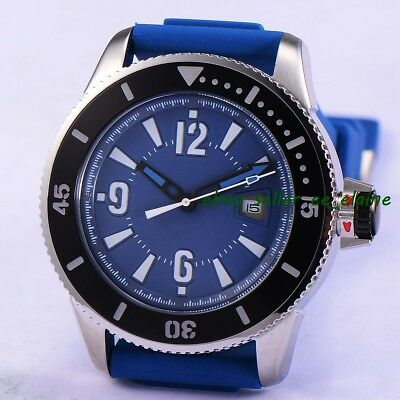 43mm Sterile Dial Sub Style Mens Mechanical Watches Black Bezel Rubber Strap 02