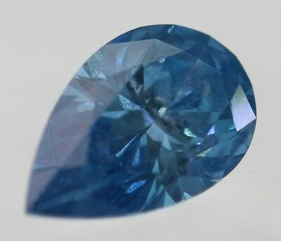 0.15 Carat Fancy Sky Blue SI2 Pear Shape Enhanced Natural Diamond 4.49X3.01mm